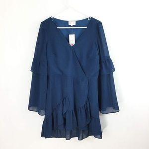 Devlin Priscilla Wrap Tiered Sleeve Shift Dress